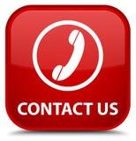 Contacteer ons (telefoonpictogram) speciale rode vierkante knoop Royalty-vrije Stock Foto