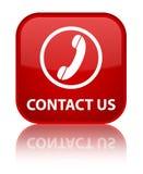 Contacteer ons (telefoonpictogram) speciale rode vierkante knoop Stock Foto's