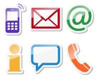 contacteer ons zes geplaatste pictogrammen Stock Afbeeldingen