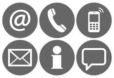 contacteer ons zes geplaatste pictogrammen Stock Afbeelding
