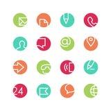 Contacten gekleurde pictogramreeks Royalty-vrije Stock Afbeeldingen