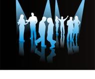 Contacten van verschillende mensen, silhouetten Stock Fotografie