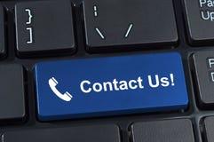 Contactez-nous clavier de bouton avec le combiné téléphonique de graphisme. Photos libres de droits