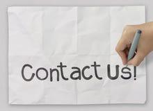 Contactez-nous d'écriture de main Images stock
