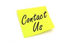 Contactez-nous de papier de note Photographie stock
