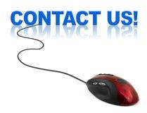 Contactez-nous de souris et de mot d'ordinateur Images stock
