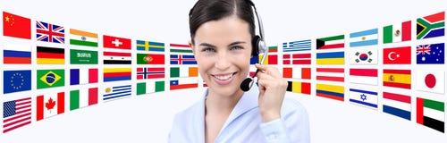 Contactez-nous, femme d'opérateur de service client avec le sourire de casque photos stock