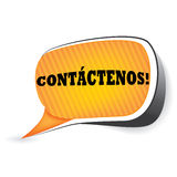 Contactez-nous ! - Langue espagnole Photographie stock