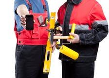 Contactez-nous ! Services de construction Photo stock