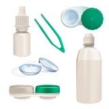 Contactlens, container en flessen Reeks van realistisch voorwerp Stock Fotografie