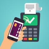 Contactless betalning Hållande kreditkort för manlig hand illustration Fotografering för Bildbyråer