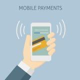 Contactless betalning med mobiltelefonen, mobilt bearbeta för betalning Arkivfoto