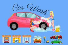 Contactless car washing services, bikini model girl cleaning auto with soap and water, vehicle interior vacuum cleaner Royalty Free Stock Photos