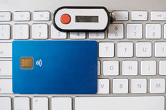 Contactless credit card and security pin Royalty Free Stock Image