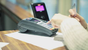 Contactless Debt card payment transaction. HD 1080 steadicam: Contactless debt card payment transaction stock footage