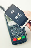 Contactless payment card with NFC chip Royalty Free Stock Images