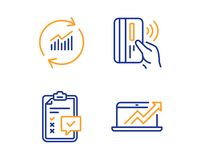 Contactless payment, Checklist and Update data icons set. Sales diagram sign. Vector. Contactless payment, Checklist and Update data icons simple set. Sales stock illustration
