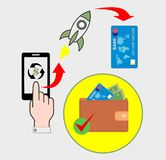Contactless payment purchases. Payment of purchases via the Internet using a smartphone stock illustration