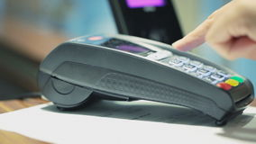 Contactless payment transaction. HD 1080 steadicam: Contactless debt card payment transacition stock footage