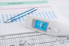 Contactless termometer på fruktsamhett diagram arkivbilder