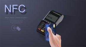 Contactless trådlös lönteckenlogo NFC-teknologikontakt mindre kreditkort vektor illustrationer