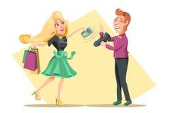 Contactless zapłata proces, przyrząd Kreskówek kobiet charakter płaci dla zakupy z kredytową kartą contactless royalty ilustracja