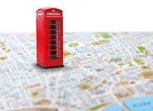 Contacto del empuje del mapa del destino del viaje Fotografía de archivo libre de regalías