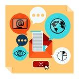 Contacto del web y hoja informativa del negocio Imagen de archivo libre de regalías