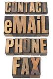Contacto, email, teléfono, conjunto de la palabra del fax Imagen de archivo libre de regalías