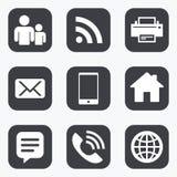 Contacto, iconos del correo Muestras de la comunicación Imagen de archivo libre de regalías