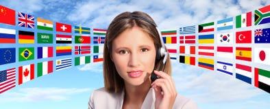 Contacto internacional del operador de centro de atención telefónica Imágenes de archivo libres de regalías