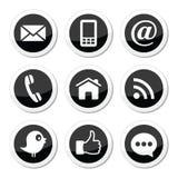 Contacto, Web, blog y medios iconos redondos sociales - gorjeo, facebook, rss
