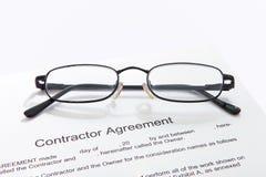 Contactor's-Vereinbarung Stockfotos