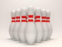 contactos de bowling 3d en el fondo blanco Foto de archivo