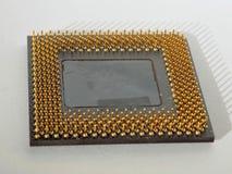 Contactos del oro del procesador fotografía de archivo