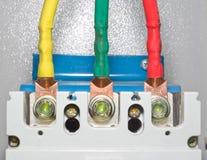Contactos del poder del disyuntor eléctrico del bloque automático foto de archivo libre de regalías