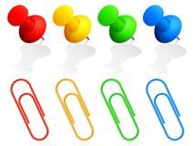 Contactos y clips de papel. stock de ilustración