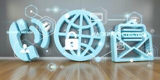 Contactpictogrammen die concept het 3D teruggeven binnendringen in een beveiligd computersysteem Stock Foto's