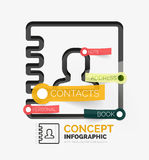 Contacts book vector infographics, line style Royalty Free Stock Images