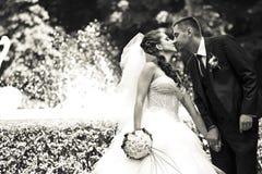 Contacts d'un couple avec leurs nez se tenant quelque part en parc images libres de droits