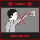 Contacts de garçon à un débouché électrique illustration libre de droits