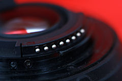 Contacts on a DSLR lens Royalty Free Stock Image