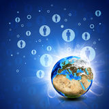 Contacts et terre de réseau Fond de pointe Photographie stock libre de droits