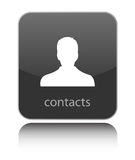 Contacts icon on black glossy icon Stock Photos