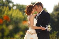 Contacts - la jeune mariée frotte la tête du marié se tenant en parc images stock