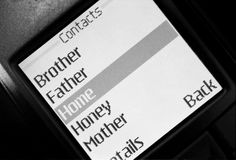 Contacts list in phone. It is contacts list in mobile phone.black and white film Stock Photography