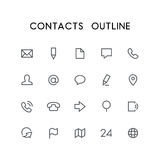 Contacts outline icon set Stock Photo