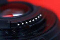 Contacts sur une lentille de DSLR image libre de droits