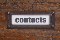 Contacts  tag - file cabinet label Royalty Free Stock Images