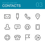 Contacts vector outline icon set Stock Photo